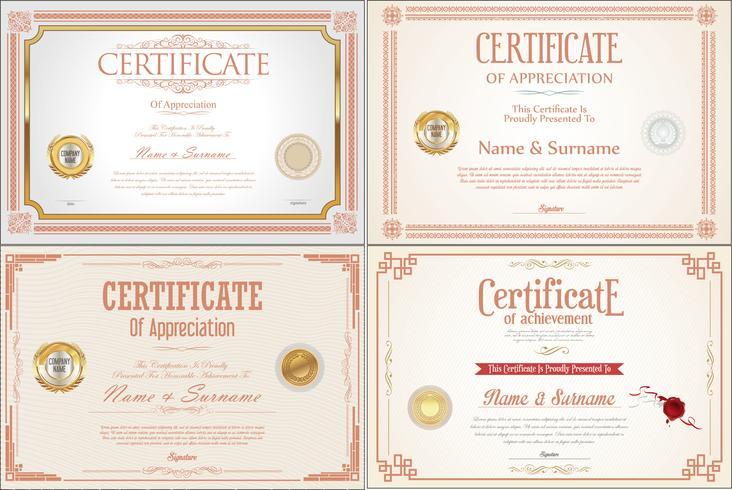 Conjunto de diseño de certificado de logro con sellos. vector
