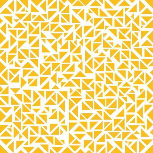 Modelo al azar de los triángulos amarillos abstractos en el fondo blanco.
