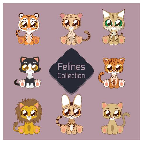 Collection of cute felines vector