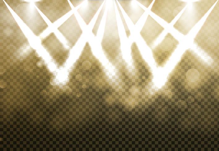 Riflettori d'oro brillante discoteca con bokeh blured su sfondo di trasparenza. vettore