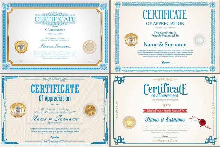 CertificadoConjunto de design de certificado de conquista com selos vetor
