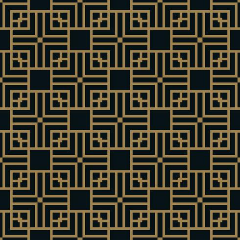 Patrón geométrico cuadrado abstracto con líneas. vector de fondo sin fisuras de oro.