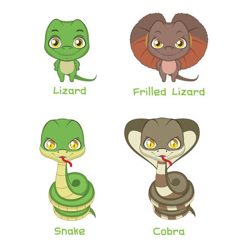 Set of reptile species vector
