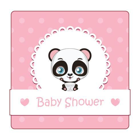 Linda señal para baby shower con panda vector