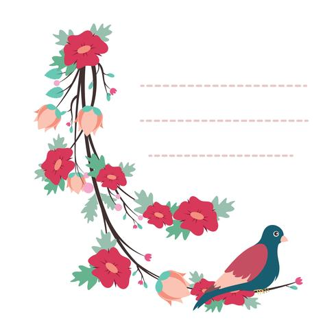 Lovely notepad template with bird and flower design