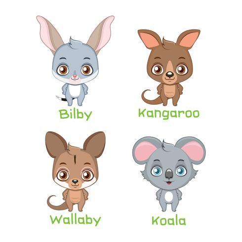 Conjunto de especies animales marsupiales.