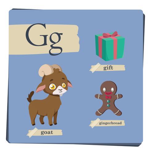 Kleurrijk alfabet voor kinderen - Letter G