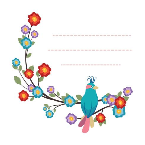 Lovely notepad template with bird and flower design vector