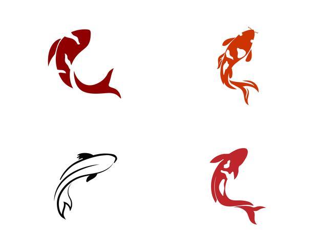 Diseño de carpa koi sobre fondo blanco. Animal. Icono de pescado. Submarino. Fácil editable en capas vector