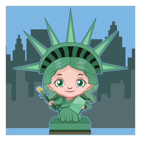 Cartoon standbeeld van Liberty illustratie vector