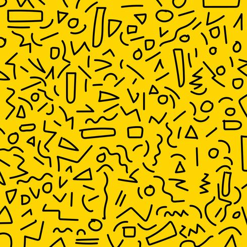 Hand draw black geometric memphis pattern 80's-90's styles on yellow background.