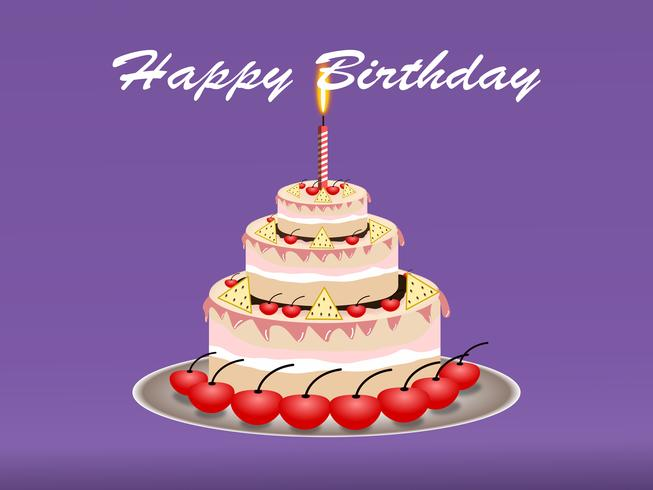 Concepto de diseño de pastel de feliz cumpleaños. ilustración vectorial vector