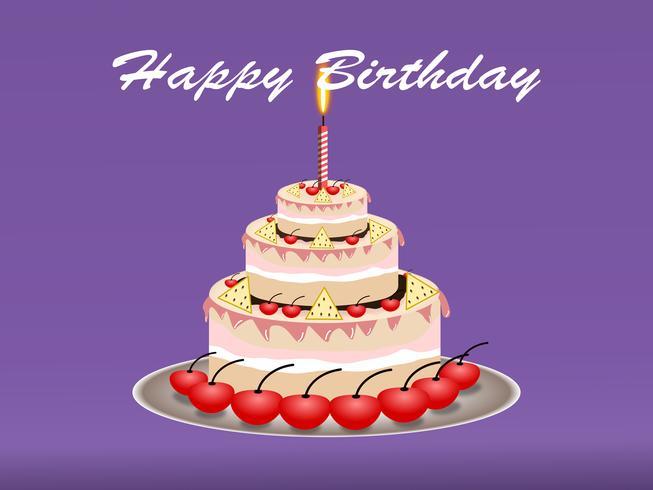 Happy Birthday Cake design concept. vector illustration