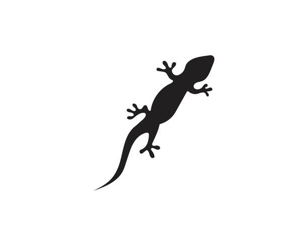 Lizard Chameleon Gecko Silhouette preto vetor