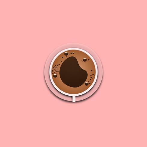 Koffiekop met schuim hoogste mening voor ontwerpaffiche op roze achtergrond. vectorillustratie