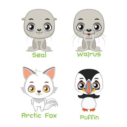 Conjunto de especies animales árticas. vector