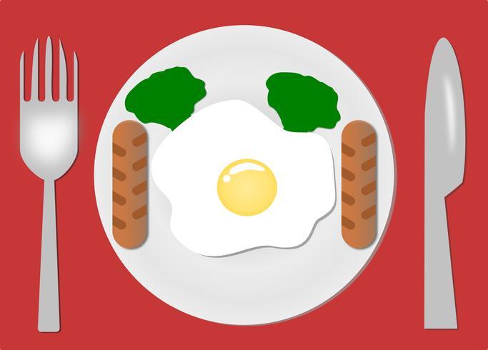 Gebakken eieren. Bord, vork en mes. Ontbijt serveren. Gekookte omelet. Geïsoleerde rode achtergrond. Ontwerp voor Vector. illustratie.