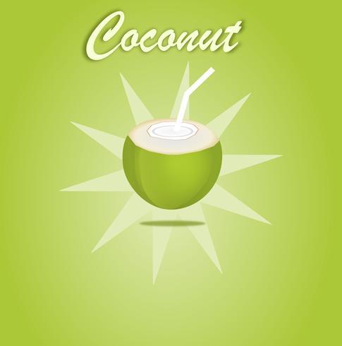 Kokosnootwater open voor drank groen fruit op groen ontwerp als achtergrond voor banner of affiche. Vector en illustratie.