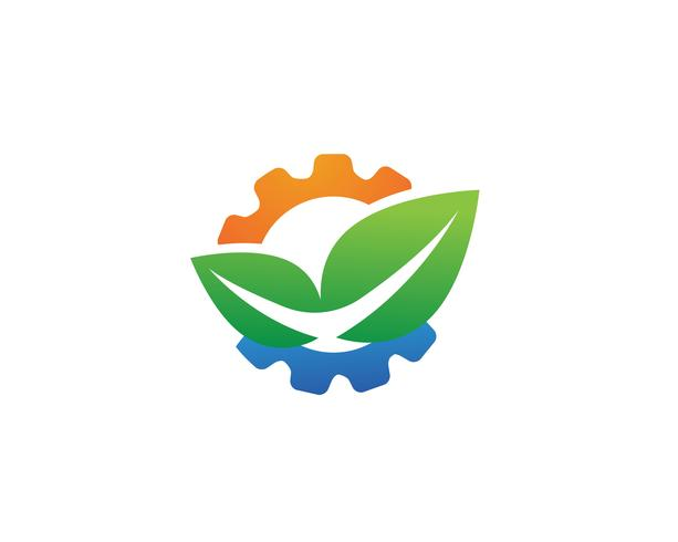 engranaje logo verde árbol hoja ecología naturaleza elemento