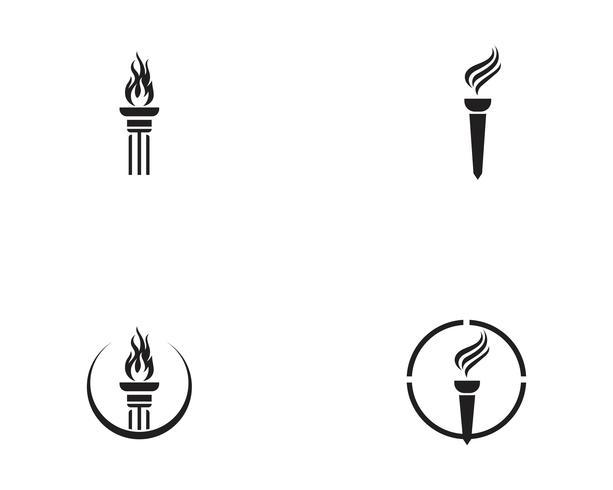 Logo inicial de T para logo y símbolo inspirado en la antorcha.