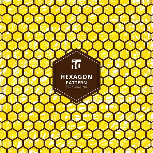 El modelo abstracto de los hexágonos en mano del cepillo dibuja el fondo amarillo. vector