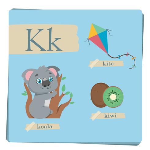 Alphabet coloré pour enfants - Lettre K vecteur
