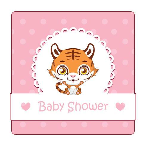 Sinal bonito para chá de bebê com tigre vetor