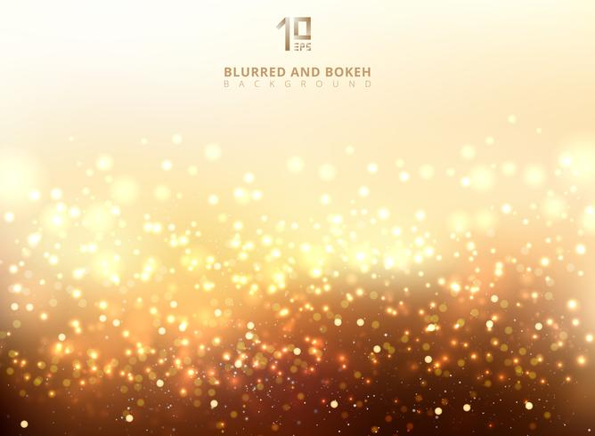 Abstract golden light glittering and bokeh background. vector