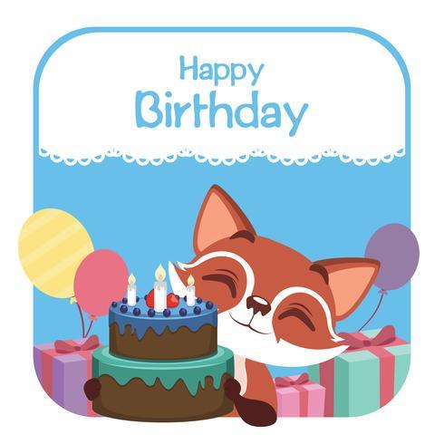Birthday illustration with cute fox