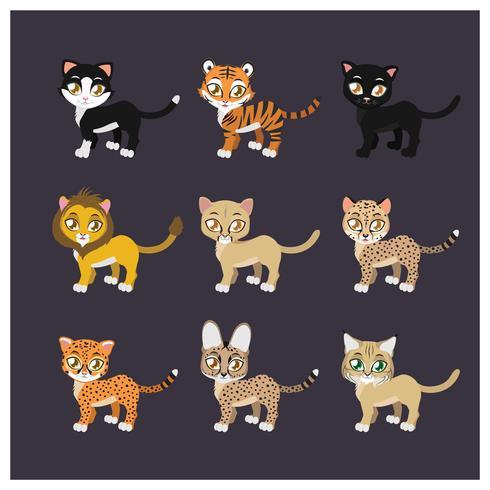 Sammlung von neun Katzenarten