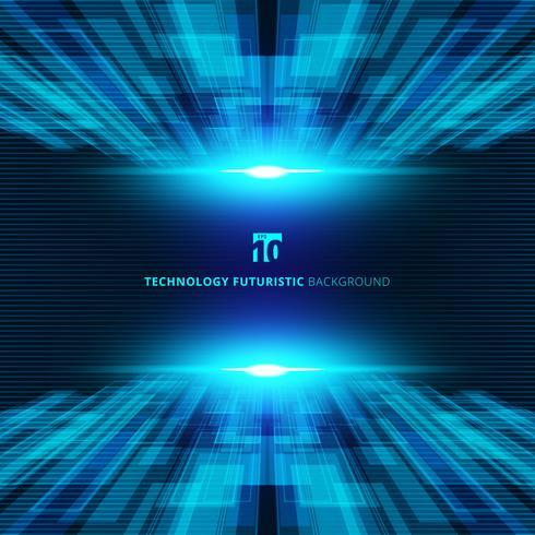 Abstracte blauwe virtuele futuristische digitale het perspectiefachtergrond van het technologieconcept met ruimte voor uw tekst. vector