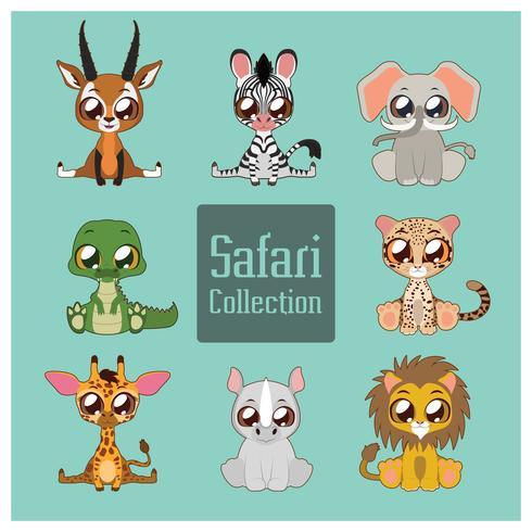 Collection d'animaux de safari mignons vecteur
