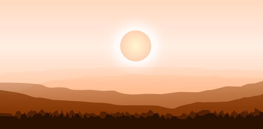 Ilustración Vector de fondo de diseño con paisaje de verano caliente en las montañas, bosques.