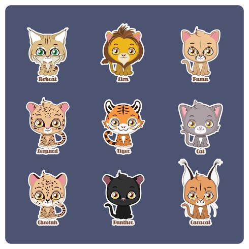 Ilustração fofa de quatro grandes felinos diferentes vetor