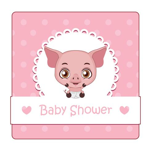 Sinal bonito para chá de bebê com porco vetor