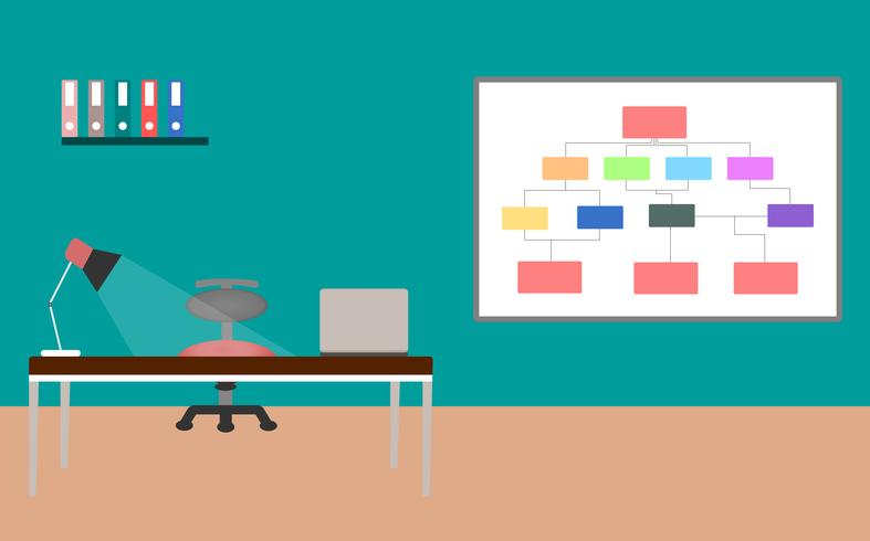 Schreibtisch mit Innenarchitektur des Laptops und der Lampe über Farbhintergrund. Vektor-Illustration.
