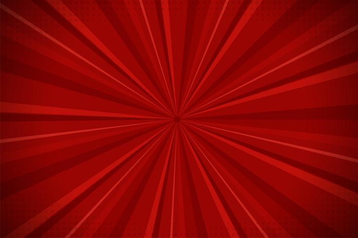 Antecedentes cómicos abstractos rojos de la luz del sol de la historieta. Diseño de ilustración vectorial