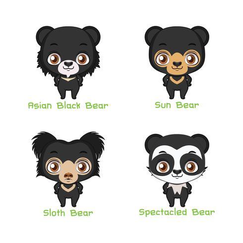 Set of black colored bear species