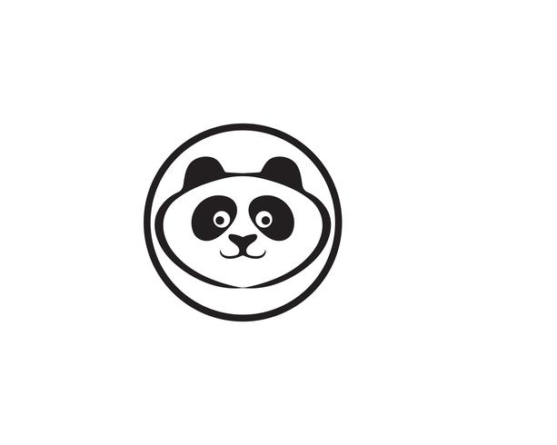 panda logo svart och vitt huvud