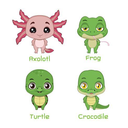 Conjunto de reptiles y anfibios. vector
