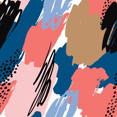 Modelo inconsútil geométrico abstracto con texturas dibujadas mano. vector