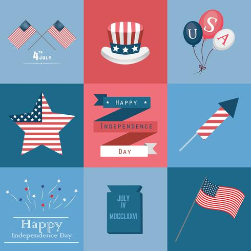 Independence Day elements vector