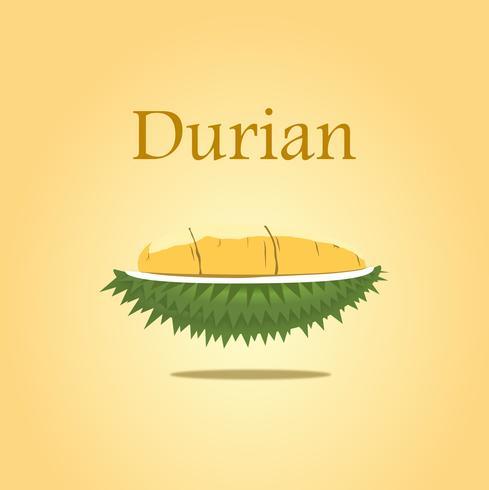 Diseño del durian para el vector y la ilustración del cartel en fondo amarillo aislado.