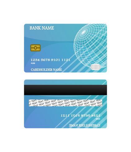 El frente y la parte posterior azules de la tarjeta de crédito aislados en el fondo blanco. concepto de ilustración vectorial Diseño para el pago de compras de negocios. vector