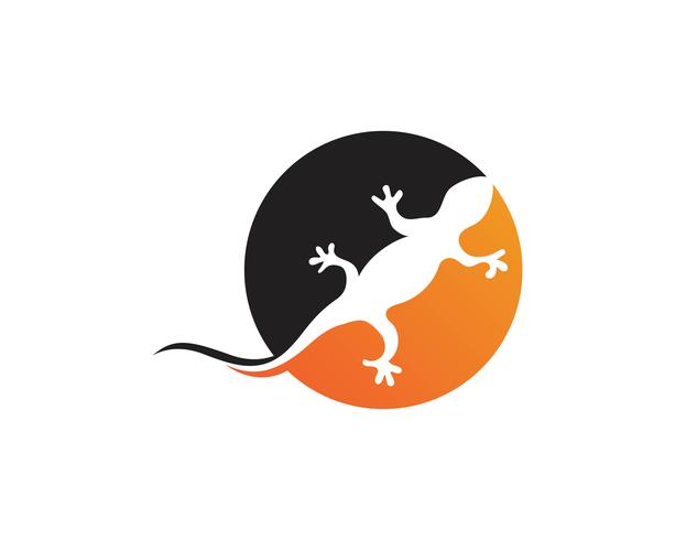 Eidechsen-Chamäleon-Gecko-Schattenbildschwarzes