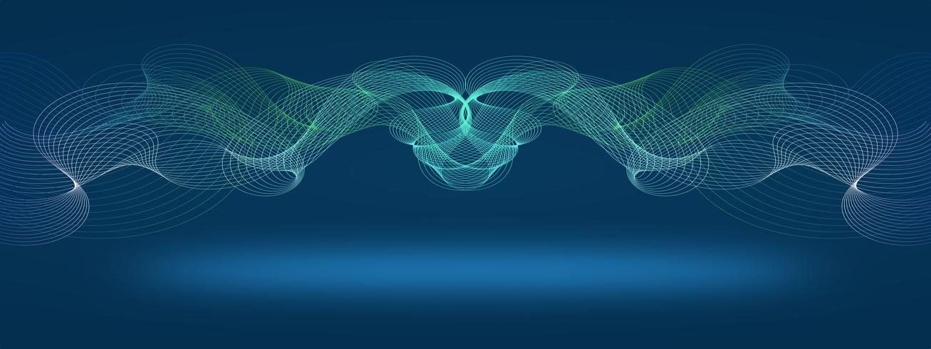 Abstract Modern dark blue line colored poster. Vector illustration