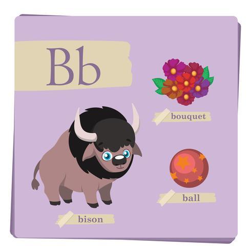 Färgrikt alfabet för barn - Brev B vektor