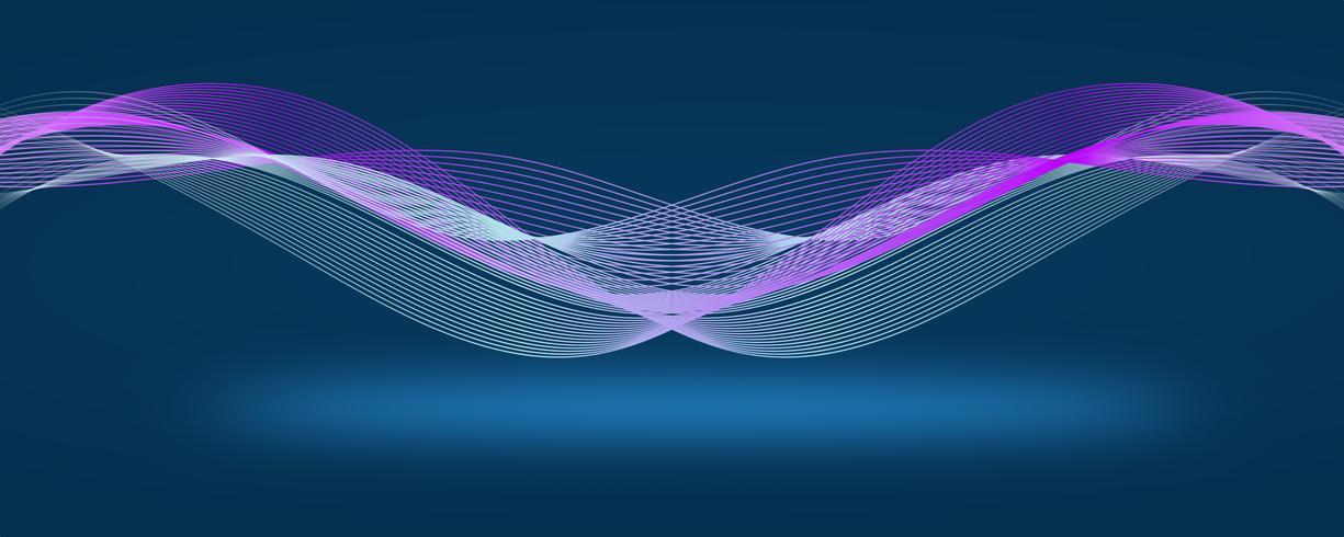 Línea moderna de color azul oscuro abstracto cartel. Ilustración vectorial