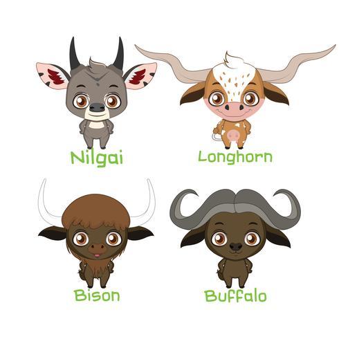 Colección de especies animales con cuernos. vector