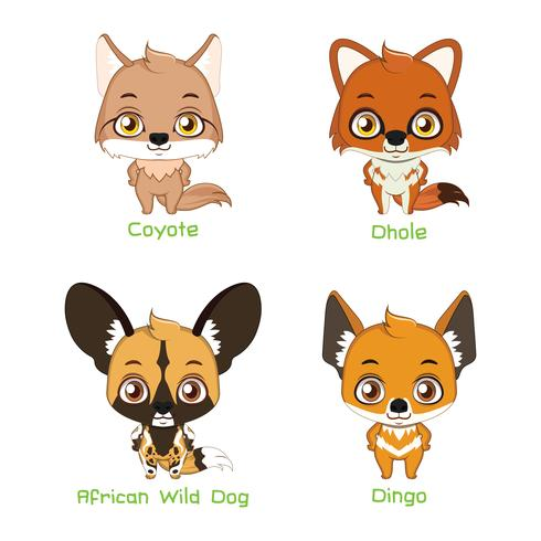 Set of wild canine species vector